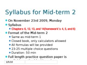 Syllabus and tips for Mid-term 2 preperation