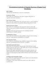 BUS 375 - Constitutional Authority to Regulate Business (Chapter Four) Vocabulary