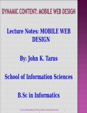 INF 230 Mobile Web Design Lecture Notes Presentation