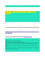 NR 505 Policy Priority Issue Screening For Bullying Behavior.docx