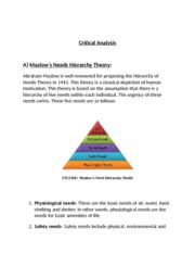 Critical Analysis,Maslow's Needs Hierarchy Theory