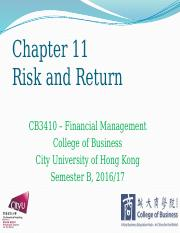Chapter 11 Risk and Return.pptx