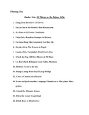 bucket list of 20