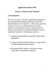 Rural Labor Markets Notes