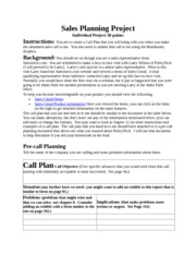 Sales Planning Project Instructions