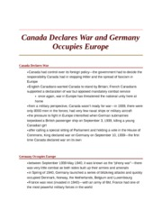 Canada Declares War and Germany Occupies Europe