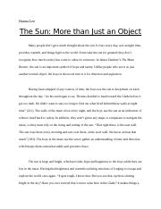 The Sun - More than Just an Object