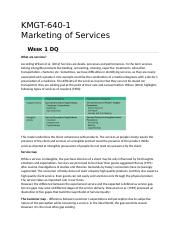 KMGT 643 Marketing of Services - Week 1 DQ