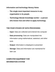 Information and technology literacy Notes