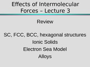Effects of Intermolecular Forces – Lecture 3