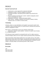 Internal Cash Control and Receivables Notes