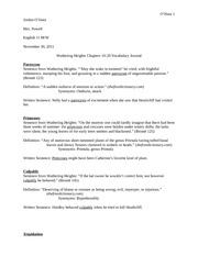 Vocabulary Journal - Wuthering Heights Chapters 16-20