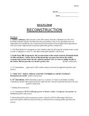 Reconstruction Vocab, Unit 6.1