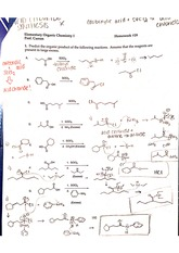 Organic Product and Synthesis homework