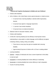 PSYC 3302 Notes on Physical and Cognitive Development in Middle and Late Childhood