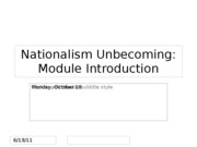 Lecture 14 -- Nationalism Unbecoming