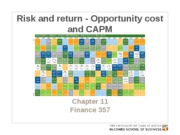 Chapter 11. Risk and return - Opportunity cost and CAPM