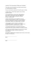 Contract for Purchase of Personal Property