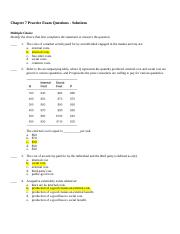 Chapter 7 Sample Exam Questions - Solutions