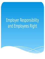 Ethics Report chapter 6 employees rights and employer's   responsibilities