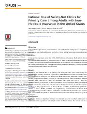 National Use of Safety-Net Clinics for Primary Care among Adults with Non-Medicaid Insurance in the