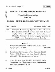 (www.entrance-exam.net)-IGNOU Diploma in Paralegal Practice - Rural Local self Governance Sample Pap