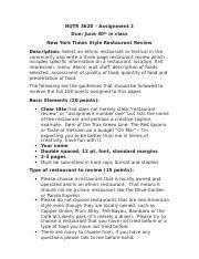 Restaurant review essay