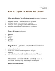 "Role of ""Agent"" in Health and Disease Notes"