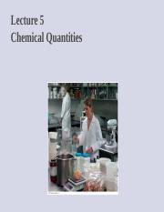 lecture 5 chemical quantities