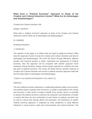 "Political Economy"" Approach to Study of the Creative and Cultural Industries Involve?"