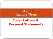 Lecture3 The Cover Letter & Personal Statment Full Version