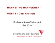 Marketing Management Lecture Week 8 FALL 2010 COST