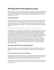English Literature Essay Questions This Is The End Of The Preview Sign Up To Access The Rest Of The Document  Unformatted Text Preview Writing Rhetorical Analysis Essays  Essay With Thesis also English Essay Structure Writing Rhetorical Analysis Essayspdf  Writing Rhetorical Analysis  How To Write A Proposal Essay Paper