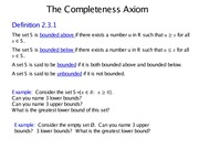 Lecture 2 - The Completeness Axiom