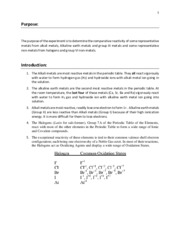 Lab report Periodic reactivity