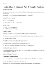formula and notes of math complex number  doenload Maths Class 11 Chapter 5 Part 2 .pdf