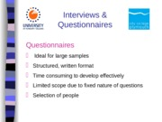 Questionnaires induction