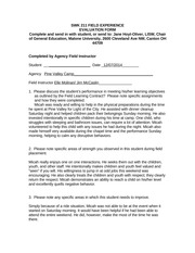 Student Intern Evaluations Form - Assignment