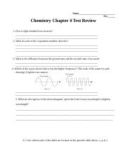 Chemistry Chap 4 test Review