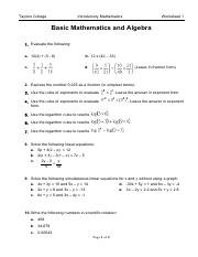 Worksheet 1 Basic Maths and Algebra