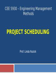 CEE 5930 Project scheduling Fall 2016