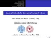 Tutorial on Coding Methods for Emerging Storage Systems