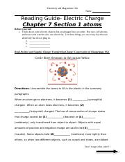Reading Guide Electric Charge Chapter 7 Section 1 atoms.doc