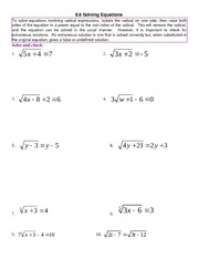 Radical Equations Problem Set