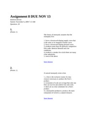 Assignment 8 DUE NOV 13