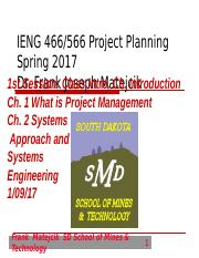 IENG 566 - Intro, Ch. 1 and Ch. 2