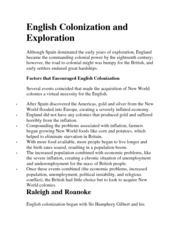 English Colonization and Exploration