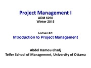 Lecture 2 Introduction to Project Management for Project Management