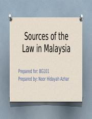 (2)Sources of the Law in Malaysia