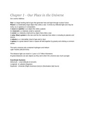 Chapter 1 - Our Place in the Universe